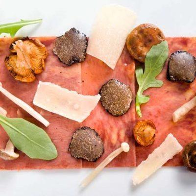 Akelarre Restaurant-CARPACCIO DE PASTA, PIQUILLO E IBERICO CON SETAS AL PARMESANO