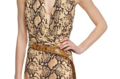 _MichaelKors Collection Python-Print Belted One-Piece Swimsuit