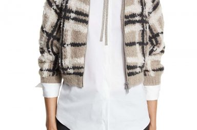 Brunello Cucinelli Plaid Zip-Front Cropped Sweater