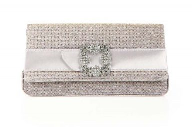Manolo Blahnik Gothisi Lurex Crystal Buckle Clutch