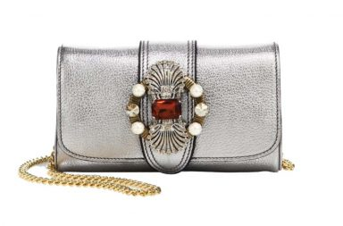 Miu Miu Crystal-Embellished Madras Metallic Leather Shoulder Bag_1