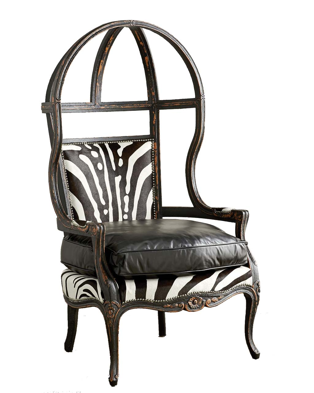 Old Hickory Tannery Zebra Balloon Chair_1