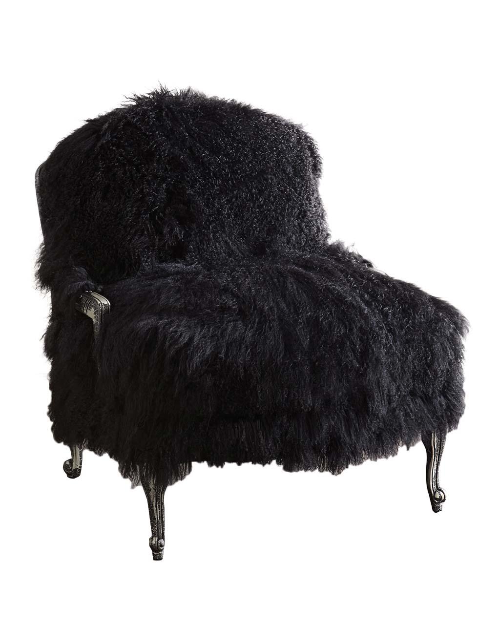 Old Hickory TanneryWorthen Noir Sheepskin Chair _1