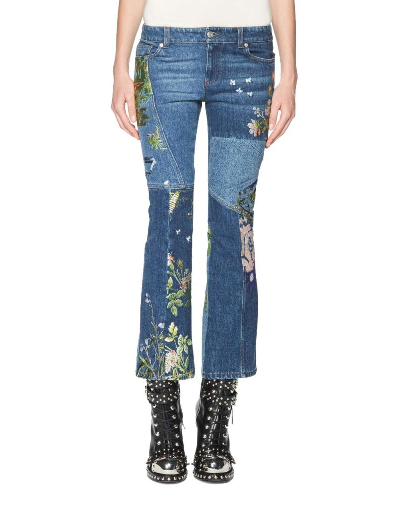 Alexander McQueen Floral-Embroidered Kick Crop Jeans_1