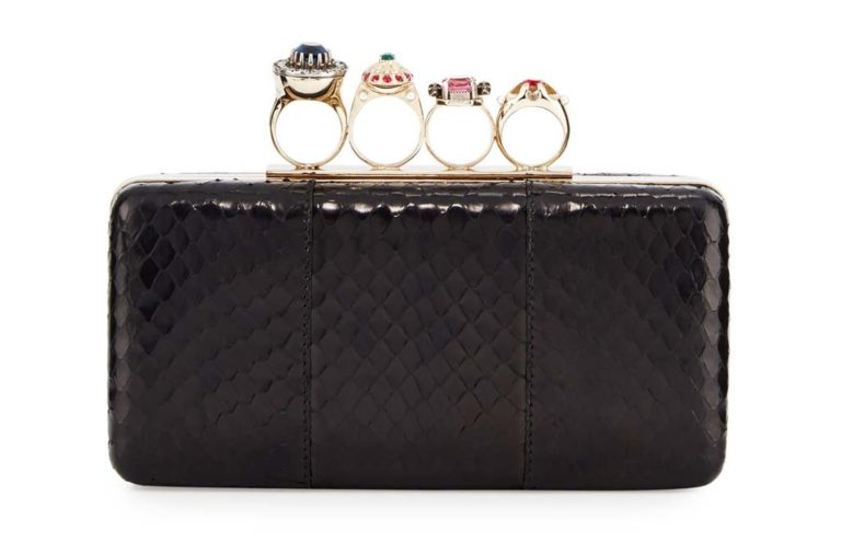 Alexander McQueen Nova Whips Jewelry Ring Snakeskin Box Clutch Bag