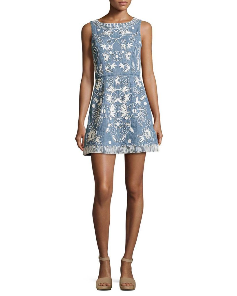 Alice + Olivia Lindsey Embroidered A-Line Denim Mini Dress