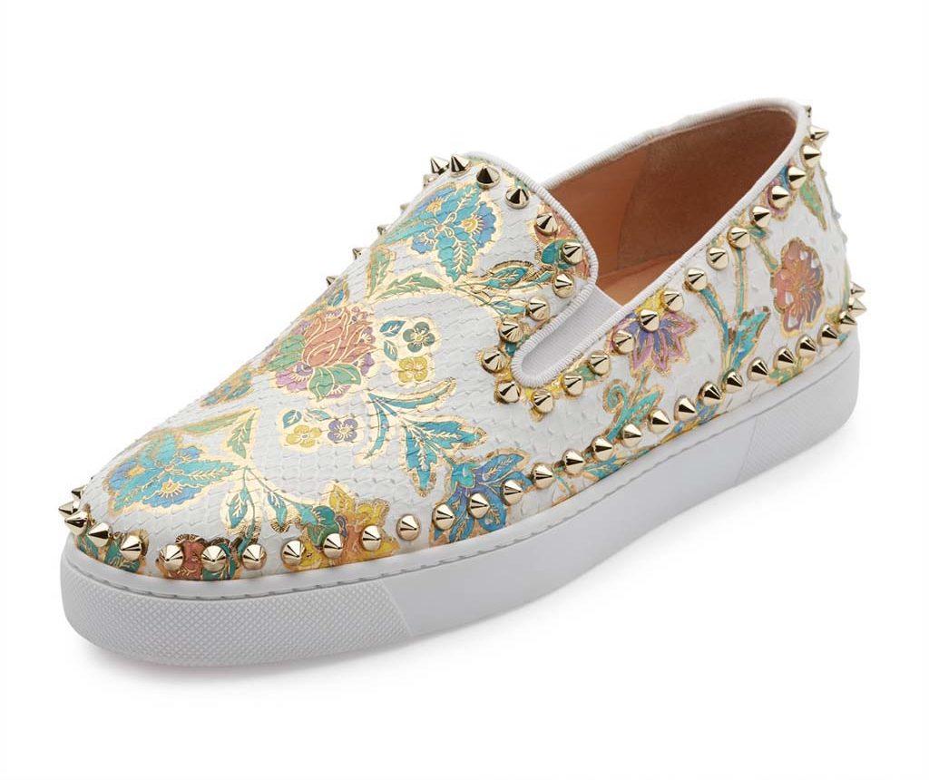 Christian Louboutin Bik Boat Floral-Print Python Sneaker