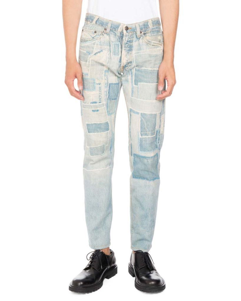 Dries Van Noten Pender Denim-Print Skinny Jeans
