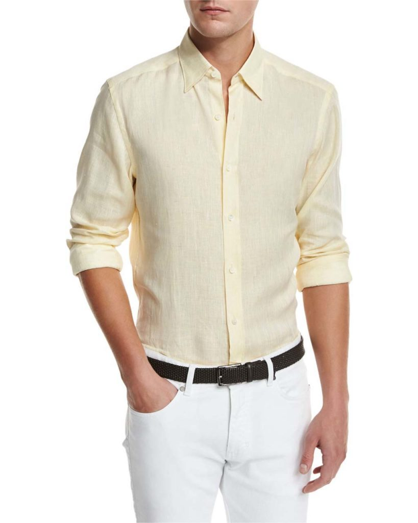 Ermenegildo Zegna Linen Woven Sport Shirt, Light Yellow