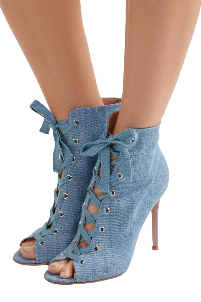 Gianvito Rossi Lace-Up Denim Boots_1