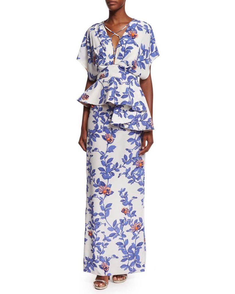 Johanna Ortiz Short-Sleeve Lace-Front Floral Silk-Crepe Gown, Blue_Pink