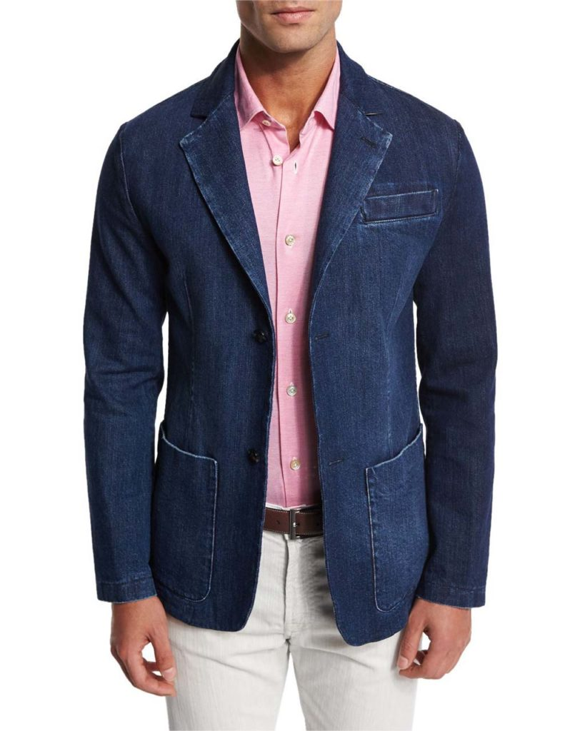 Kiton Denim Blazer with Elbow Patches