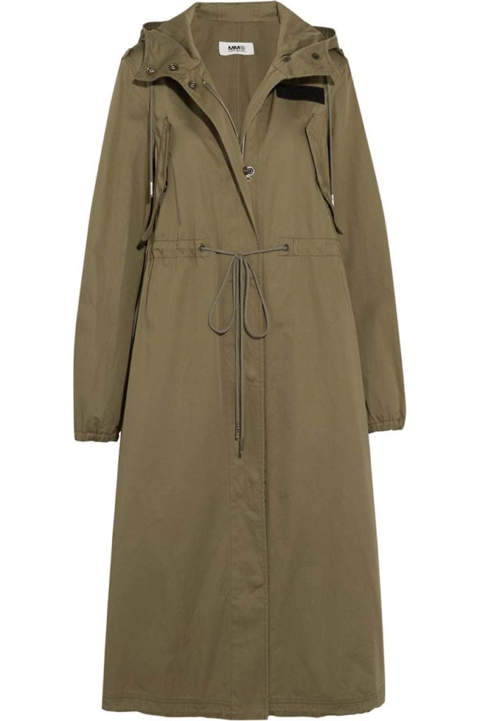 MM6 Maison Margiela Hooded Cotton-Gabardine Trench Coat 1