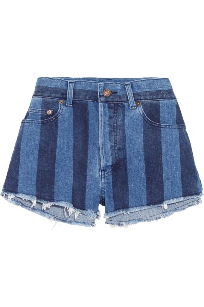 Saint Laurent Cut-Off Striped Stretch-Denim Shorts