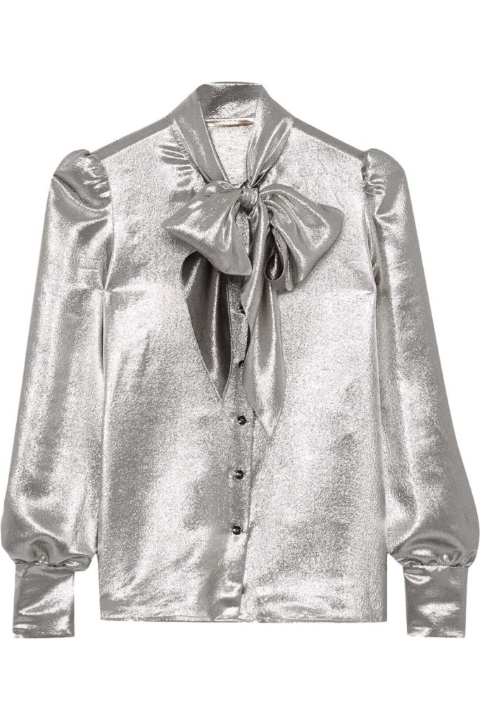 Saint Laurent Pussy-Bow Silk-Blend Lamé Blouse_1