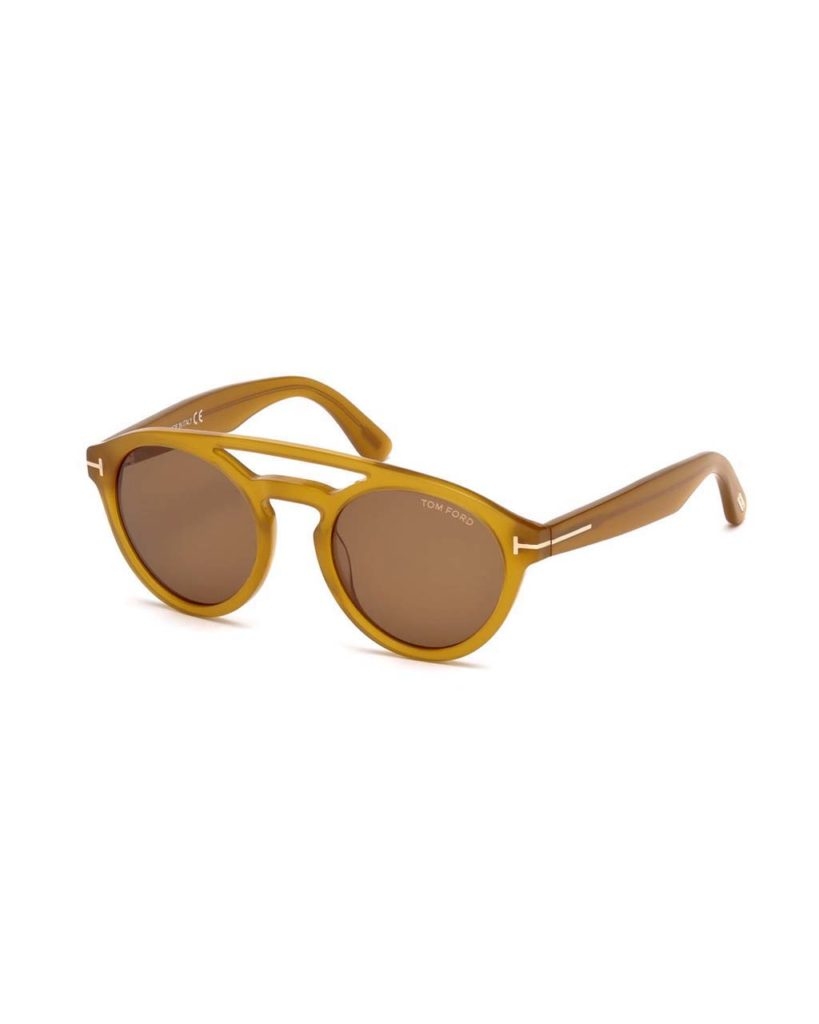 Tom Ford Clint Round Acetate Sunglasses, Amber