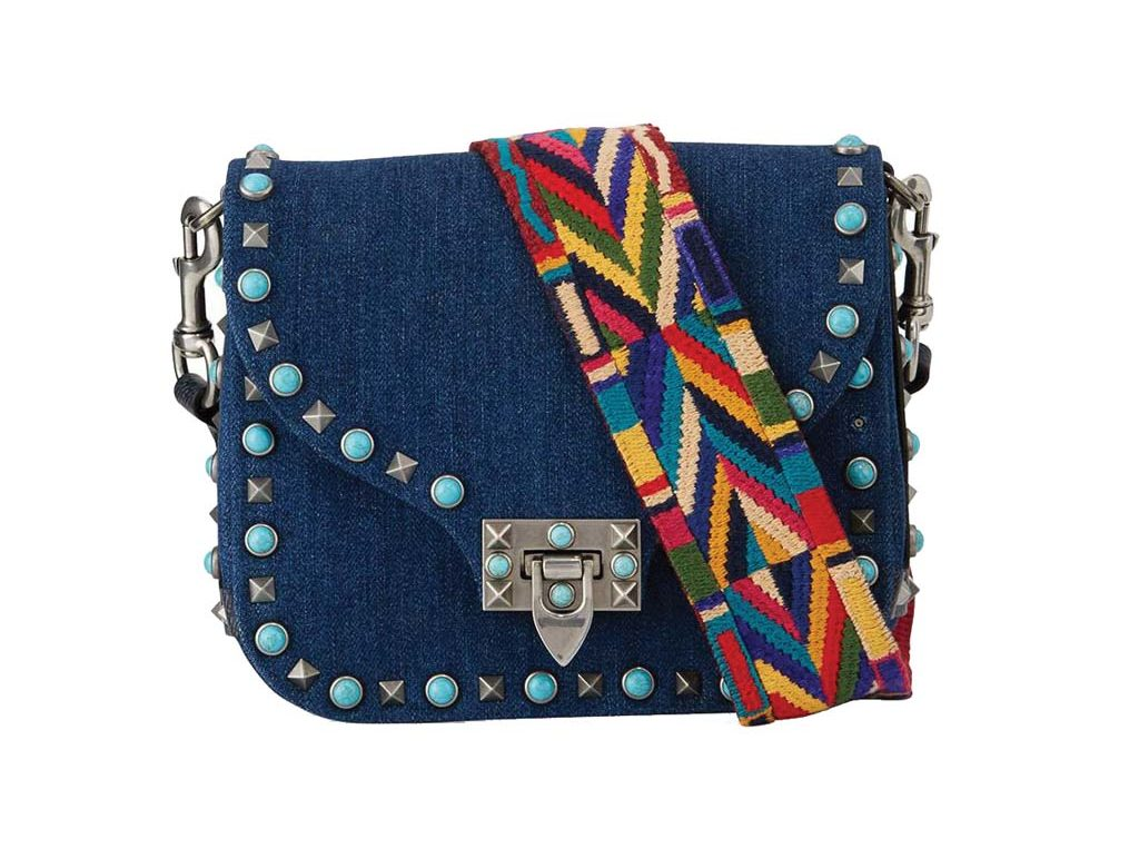 Valentino Rockstud Rolling Small Denim Guitar-Strap Crossbody Bag_1