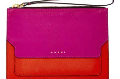 Marni Color-Block Leather Clutch