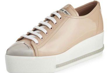 Miu Miu Patent Leather Cap-Toe Platform Sneaker
