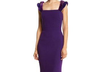 Alexandra Vidal Silk Georgette Gown w_3D Ombre Tulle Trim, Violet _1