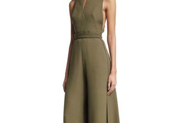 Brandon Maxwell Sleeveless Jumpsuit with Train, Olive_1