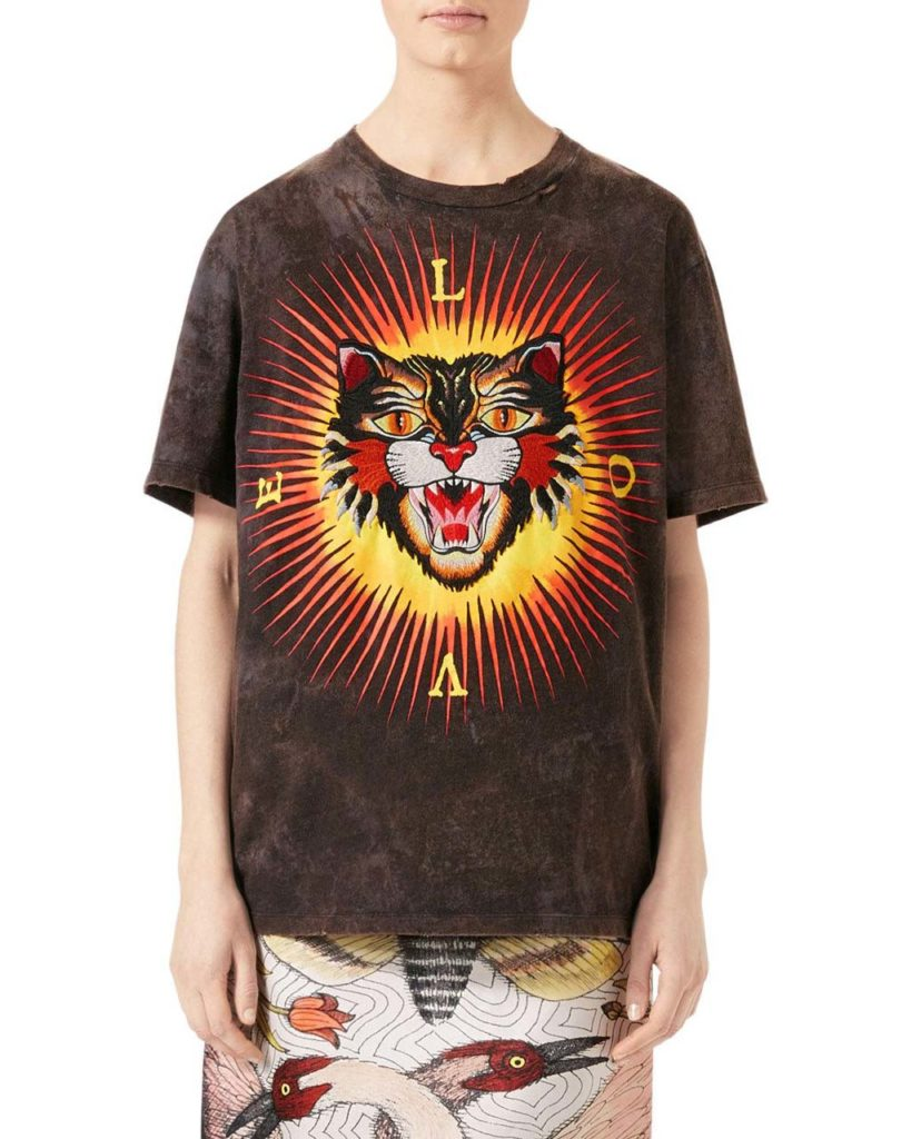 Gucci Embroidered Cat Jersey T-Shirt
