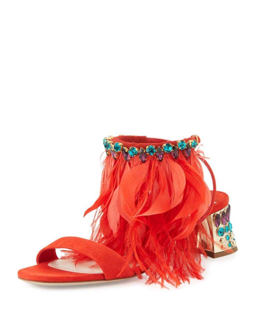 Miu Miu Jeweled Feather-Ankle 45mm Sandal