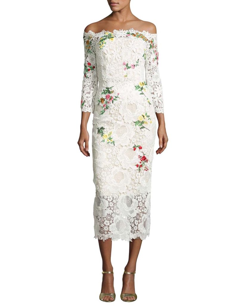 Monique Lhuillier Floral Lace Off-the-Shoulder Midi Dress, White and Multi_1