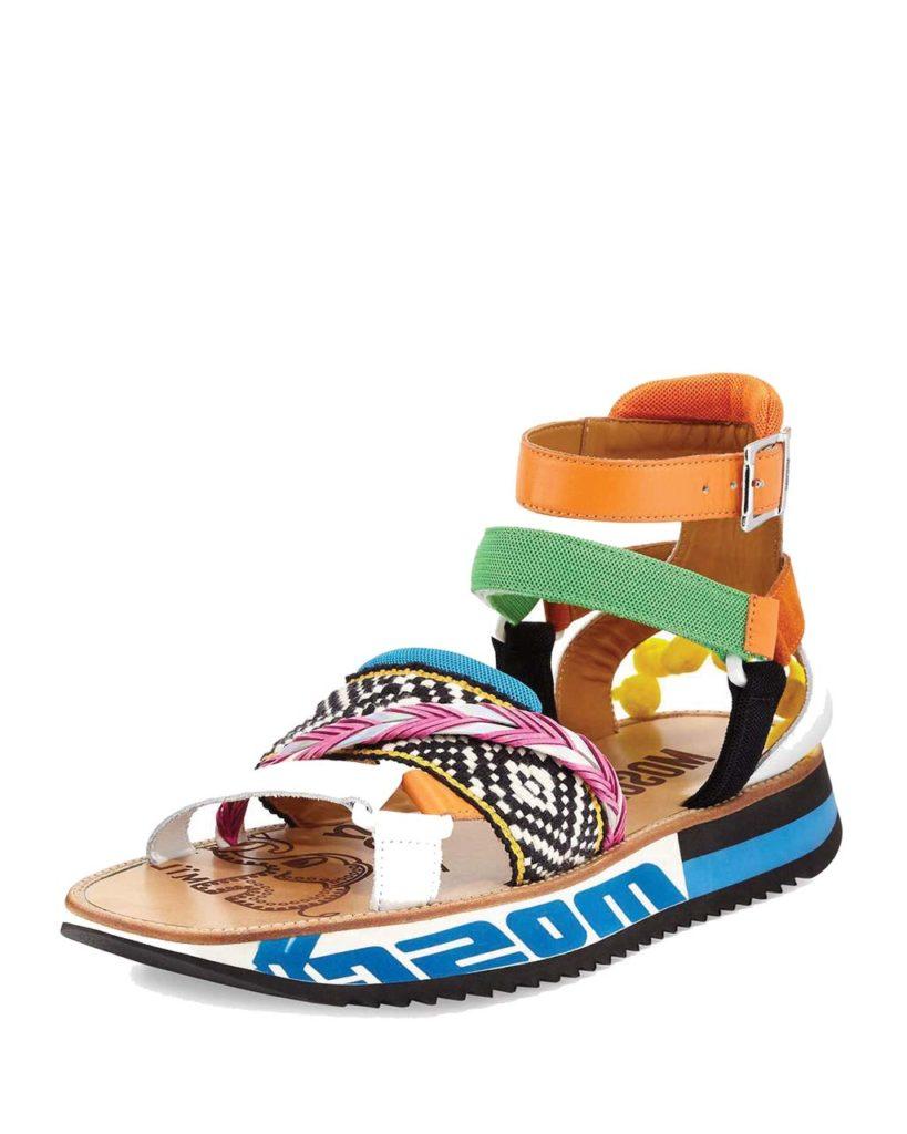 Moschino Men's Pop Heel Ankle-Wrap Pompom Sandal_1