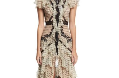 Roberto Cavalli Ruffled Polka-Dot Lace-Inset Gown_1