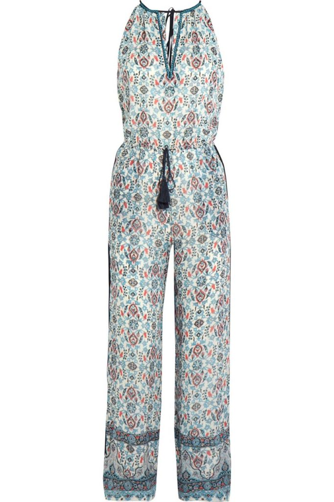 Talitha Embroidered Printed Silk-Georgette Jumpsuit