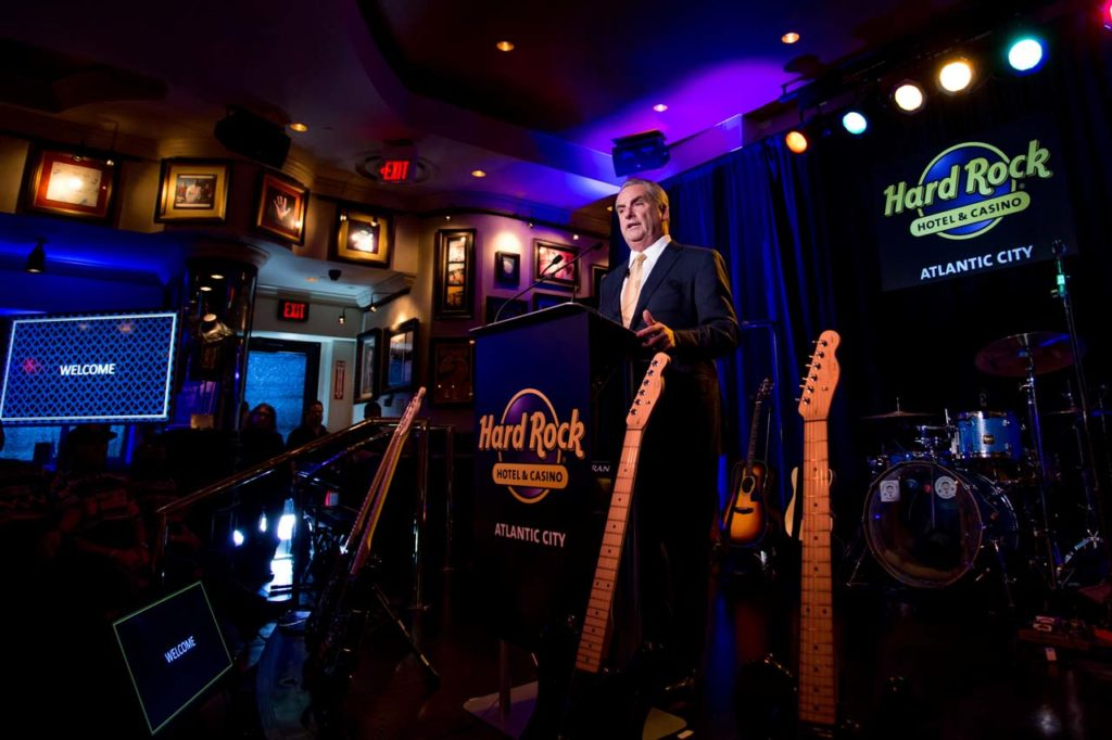 Hard Rock International Chairman Jim Allen speaks at the Hard Rock Hotel & Casino Atlantic City Press Conference on Wednesday, April 5, 2017, in Atlantic City, N.J. (Jeff Fusco/AP Images for Hard Rock International)