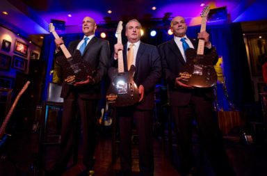 L-R, Joe Jingoli, Hard Rock International Chairman Jim Allen and Jack Morris raise guitars at the Hard Rock Hotel & Casino Atlantic City Press Conference on Wednesday, April 5, 2017, in Atlantic City, N.J. (Jeff Fusco/AP Images for Hard Rock International)