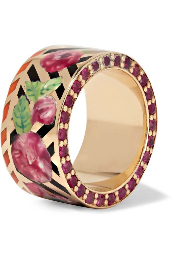 Alice Cicolini Candy 14-karat Gold, Enamel and Ruby Ring