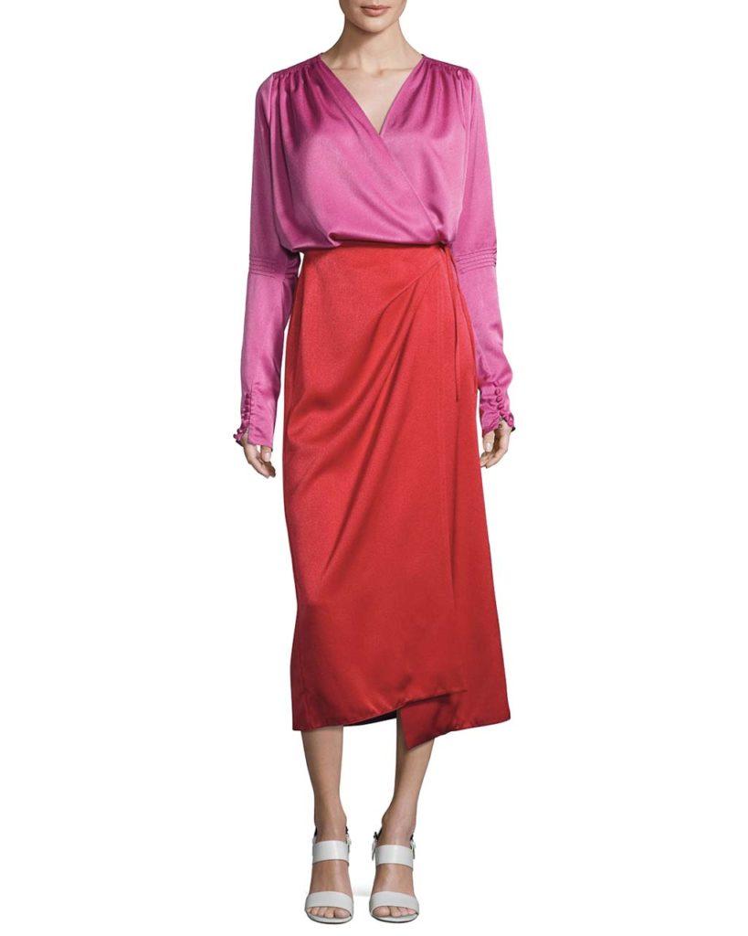 Attico Satin Bicolor Wrap Midi Dress RedPink