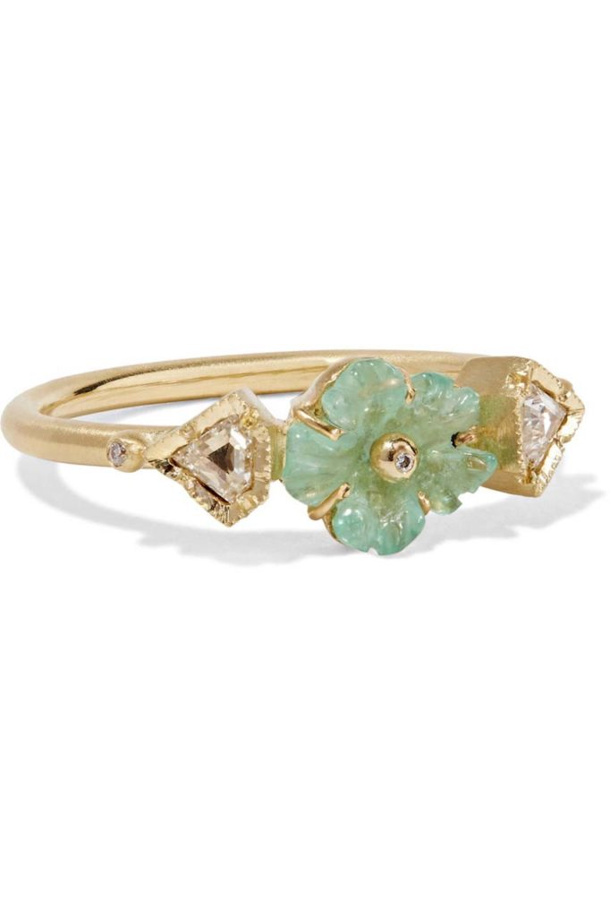 Brooke Gregson Rivera Flower 18-karat Gold, Emerald and Diamond Ring