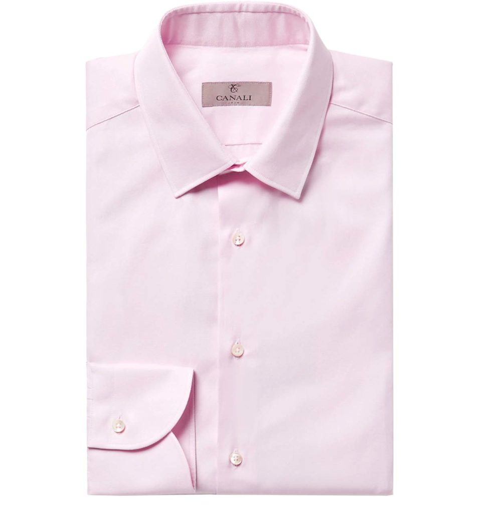 Canali Pink Slim-Fit Textured-Cotton Shirt_1