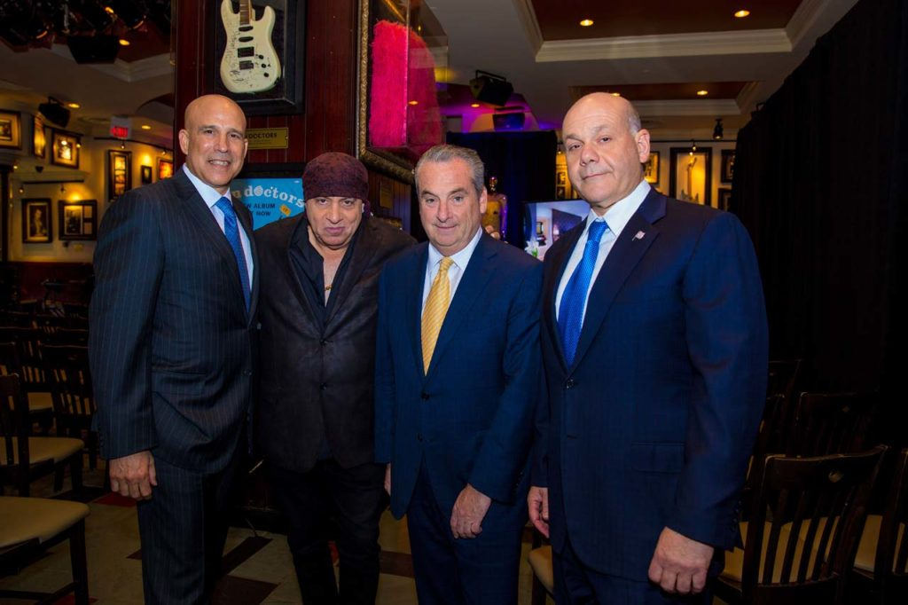 L-R, Joe Jingoli, Steven Van Zandt, Hard Rock International Chairman Jim Allen and Jack Morris welcome guests at the Hard Rock Hotel & Casino Atlantic City Press Conference on Wednesday, April 5, 2017, in Atlantic City, N.J. (Jeff Fusco/AP Images for Hard Rock International)
