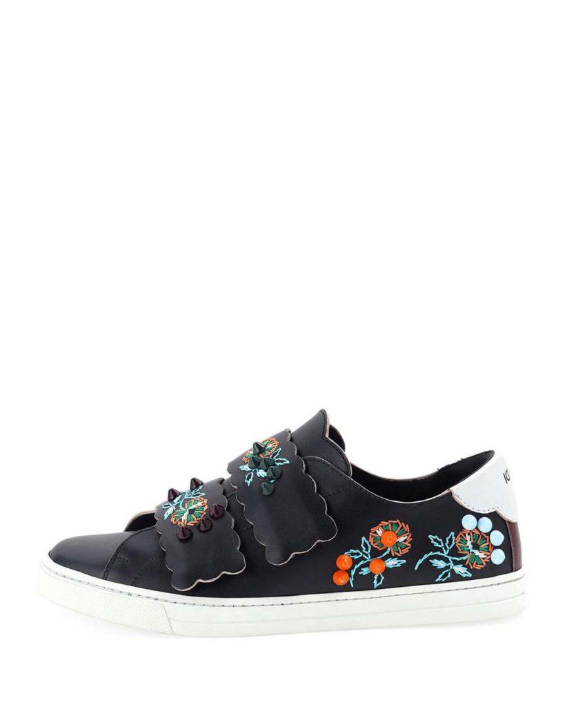 Fendi Fendi Embroidered Grip-Strap Sneaker