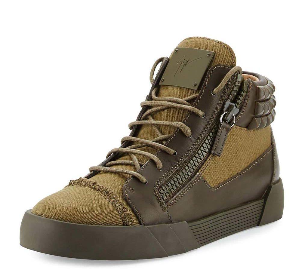 Giuseppe Zanotti Men's Foxy London Canvas & Leather Studded Mid-Top Sneaker