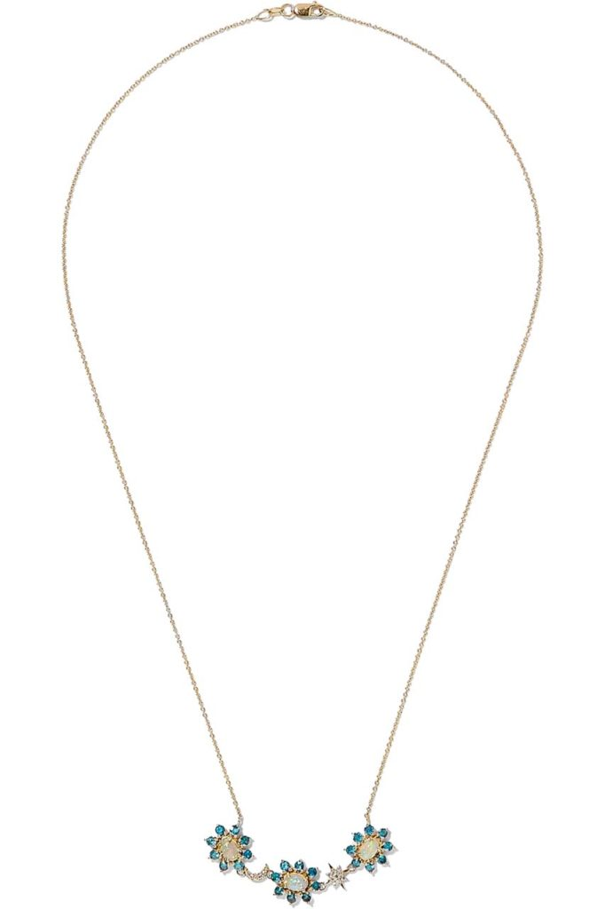 Ileana Makri Night Flower 18-karat Gold Multi-stone Necklace_1