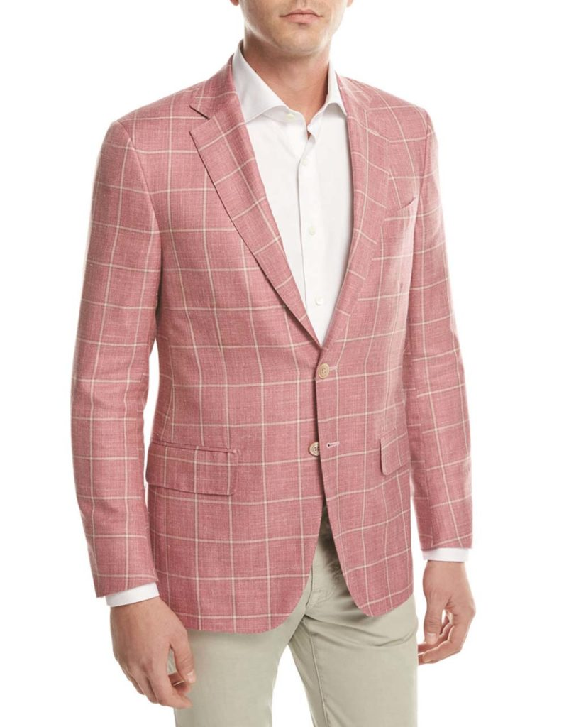 Isaia Windowpane Check Two-Button Sport Coat, Pink_Beige