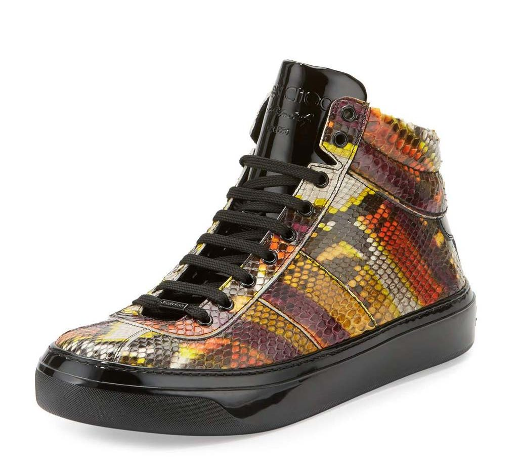 Jimmy Choo Belgravia Men's Python & Patent Leather High-Top Sneaker