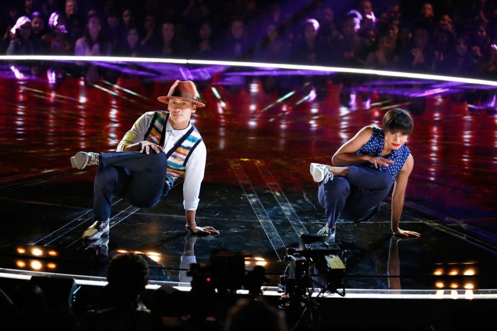 Keone & Mari compete on the WORLD OF DANCE stage. ©NBCUniversal. CR: Justin Lubin/NBC.