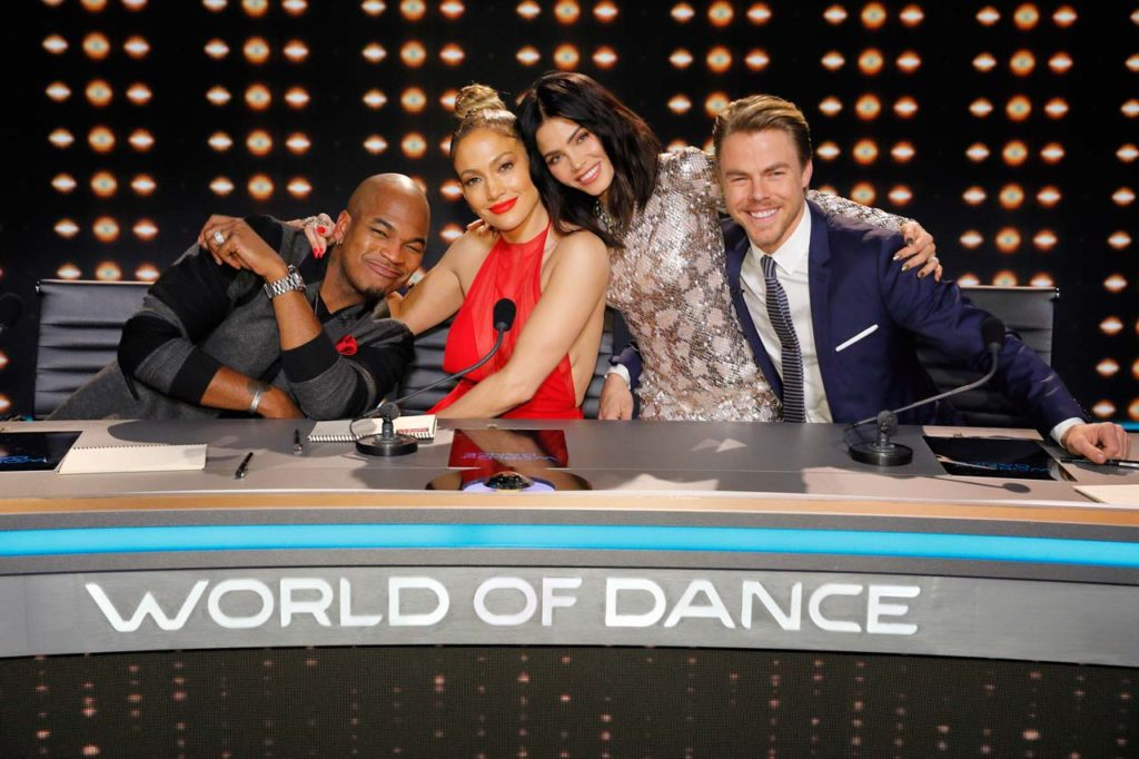 (l-r) Ne-Yo, Jennifer Lopez, Jenna Dewan Tatum and Derek Hough of WORLD OF DANCE. ©NBCUniversal. CR: Trae Patton/NBC.