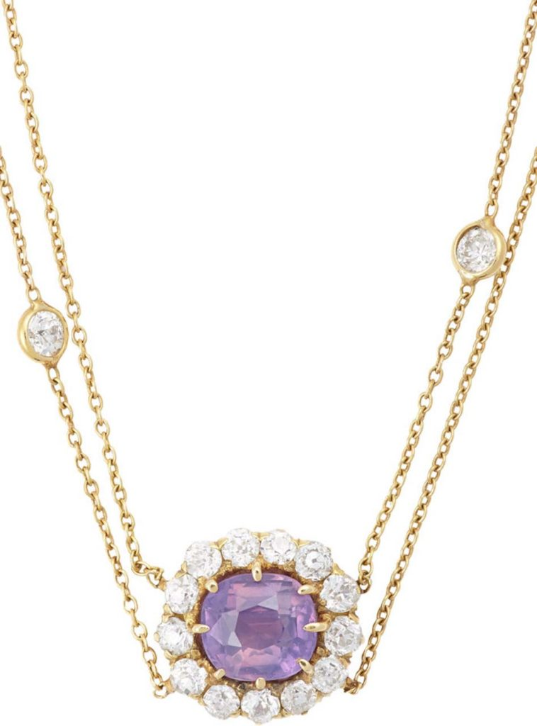 Renee Lewis Diamond & Pink Sapphire Flower Pendant Necklace