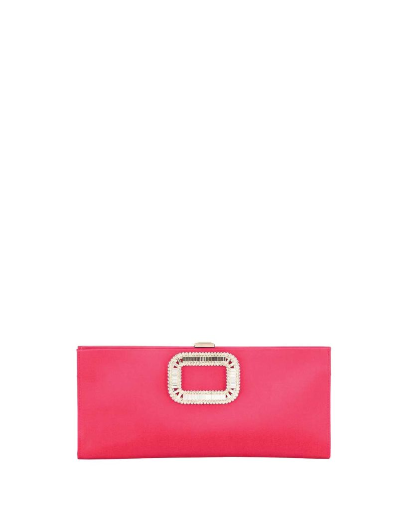 Roger Vivier Pilgrim Small Satin Clutch Bag, Strawberry_1
