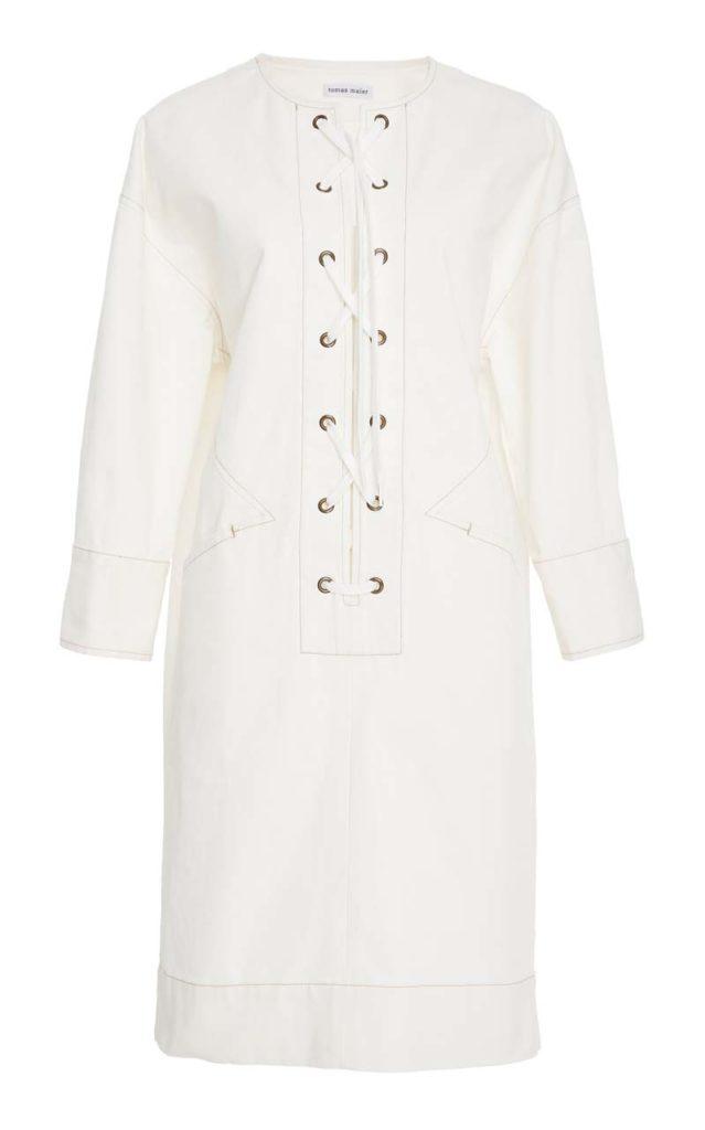 Tomas Maier Lace Front Denim Sheath Dress