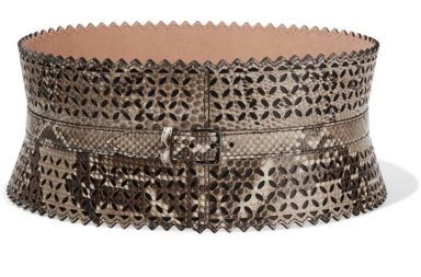 AlaÏa Laser-Cut Python Waist Belt