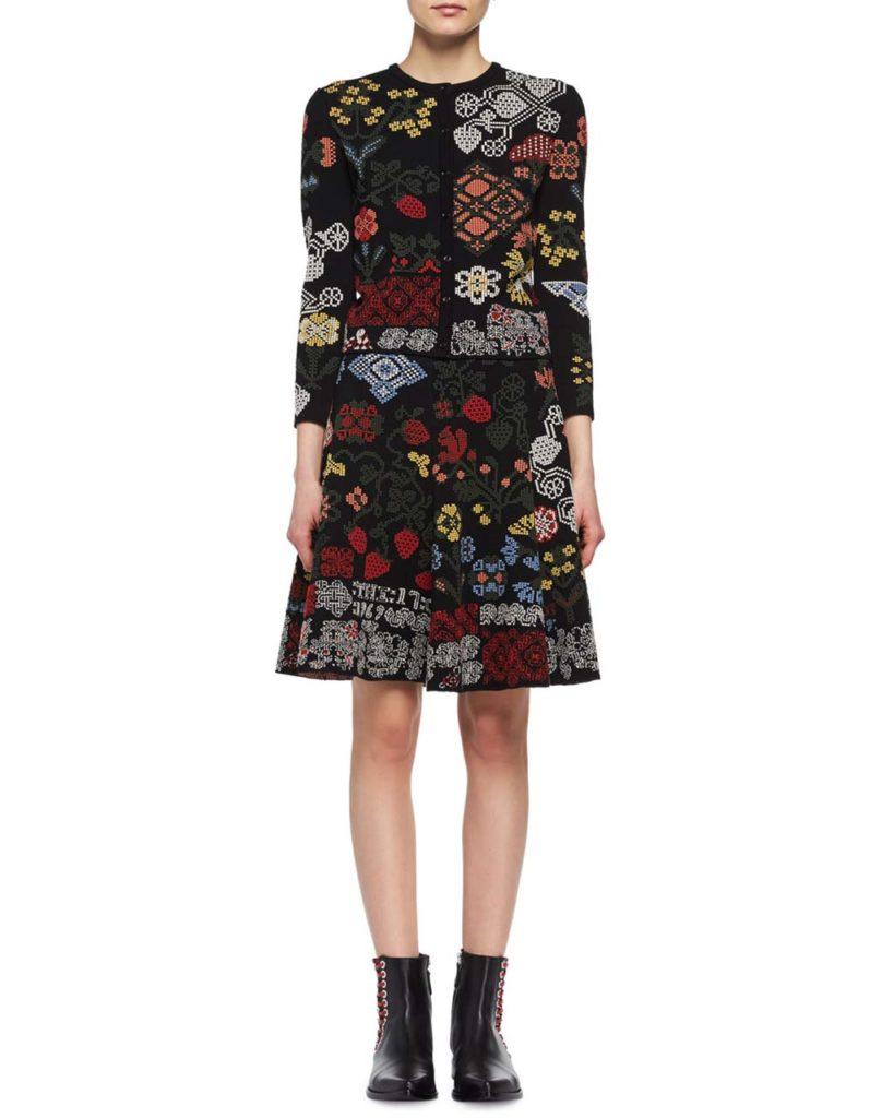 Alexander McQueen Metallic-Needlepoint Peplum Cardigan & Skirt